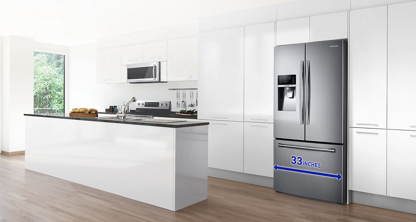 Samsung 4-piece Stainless Steel Kitchen Suite with 33 in. 25.5 cu.ft ...