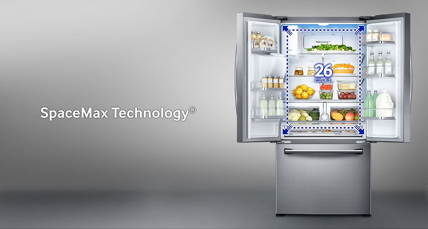 Samsung 33 255 cu ft french door refrigerator rf26j7500sraa the capacity of a conventional model is 24 cu ft and the rf7500j has 26 cu ft rubansaba