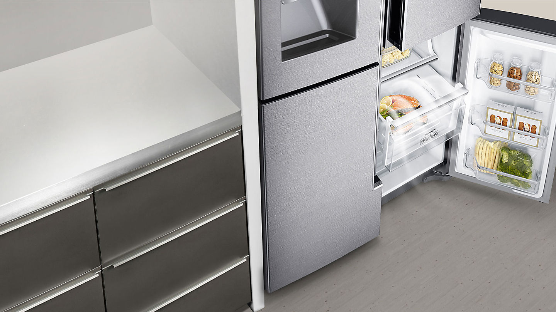 Side By Side Kühlschrank Einbaugerät : Samsung rf j sr side by side edelstahl