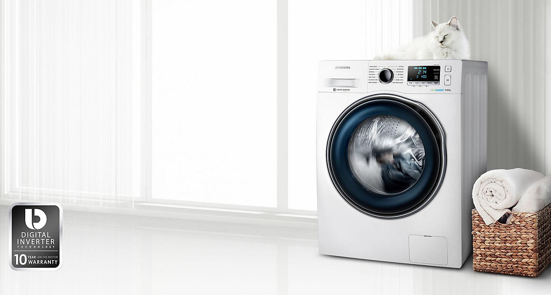 Lavadora De Carga Frontal Samsung Ecobubble Ww80j6410cw Ec De 8 Kg  ~ Lavar Cortinas Blancas Muy Sucias