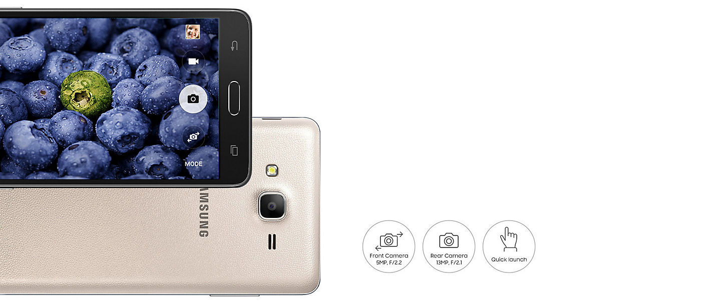 Samsung G600 On 7 Gold Smartphone Galaxy On7 The Quick Launch Feature Means You Need Never Miss Out Another Photo Opportunity Just Push Home Button Twice And Capture Moment