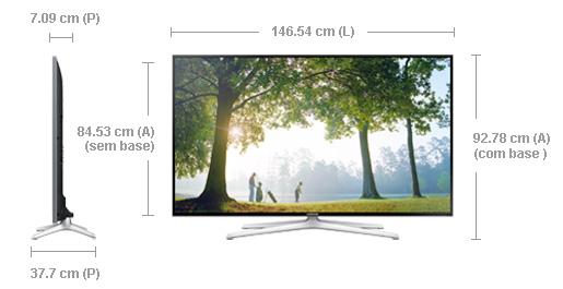 "Extremamente Smart TV 3D LED 65"" Full HD Samsung UN65H6400 com 480Hz Clear  AR99"