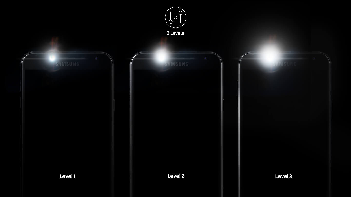 Add Clarity To What You Capture Galaxy J4 Features Three Level Flash Adjustment Avoid Image Degradation And Glare When Shooting Selfies Day Night