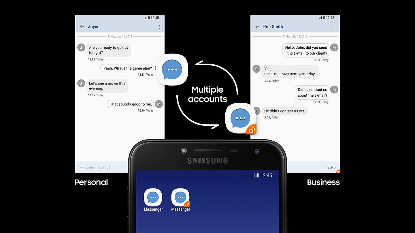 Galaxy J4 Sets Up Two Accounts For The Same Messenger With Different Purposes User Can Install And Easily Manage Second Account