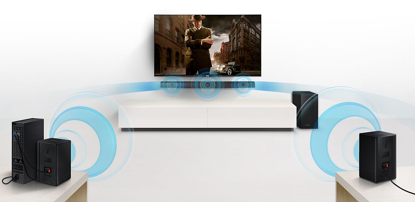 Samsung 200w 21ch Wireless Soundbar With Subwoofer Black Hw Wiring A Surround Sound System You Expand Your To Easily Without The Mess Of Wires Together Can Create Channel For
