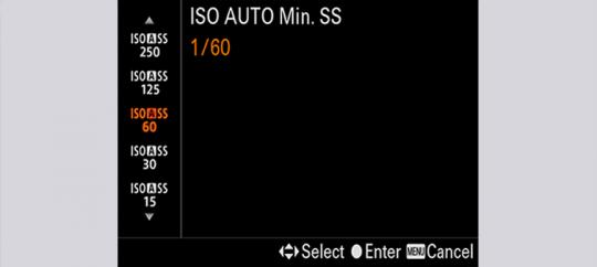 Minimalny czas otwarcia migawki dla trybu ISO Auto