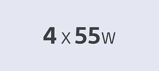 4 x 55W усилвателя за чист, мощен звук