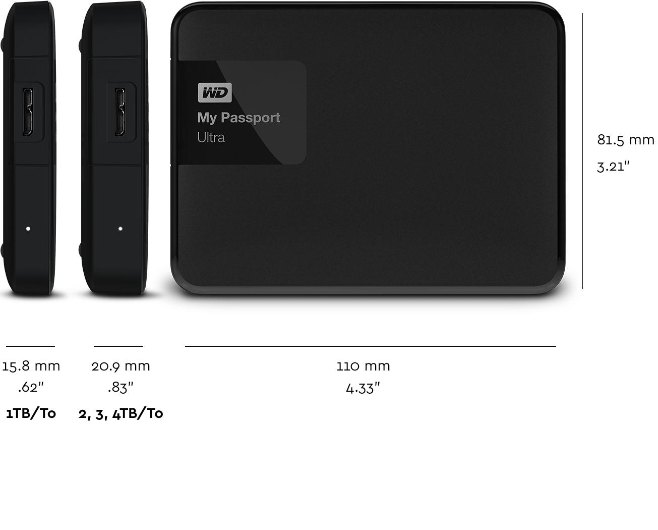 WD My Passport Ultra 1TB Portable External Hard Drive USB ...