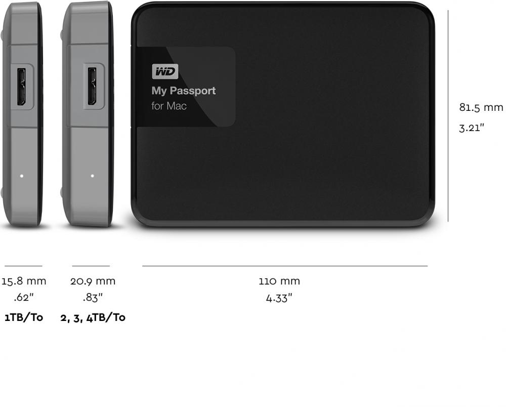 WD My Passport for Mac WDBJBS0010BSL - Hard drive - encrypted - 1 TB -  external (portable) - USB 3 0 - RoHS 2002/95/EC - 256-bit AES - black/silver